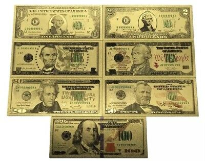 24KT Gold United States Of America USA Bank Note Set Banknote Limited Edition