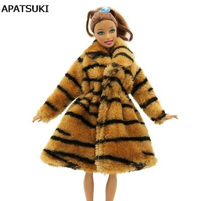 "Zebra Animal Print Fashion Doll Clothes For 11.5"" Doll Coat Winter Wear Dress"