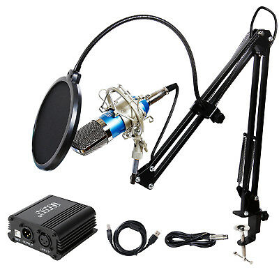 Professional Studio Condenser Microphone Kit w/Black Mic Arm Stand and Pop Filte