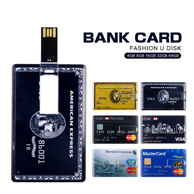 64GB Credit Card Shape USB 2.0 Flash Drive Memory Storage Stick  Pen Drive Lot