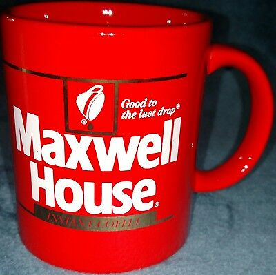 """Maxwell House Instant Coffee Cup Tea Mug """"Good to the Last Drop"""" bright red"""