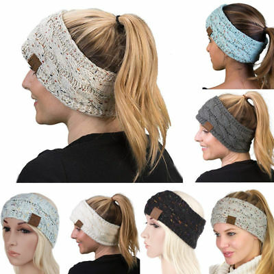 UK Winter Warm Womens Headband Knitted Crochet Wool Hat Head Wrap Wide Hair Band
