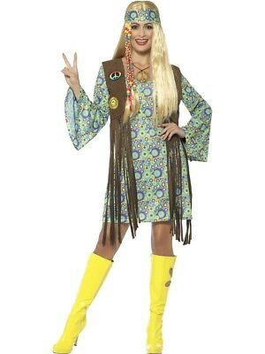 Ladies 60s Hippy Peace 70s Groovy Fancy Dress Hippie Chick Costume