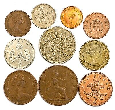 10 Uk England Great Britain Coins Penny Shilling Pence Old Collectible Coins Set