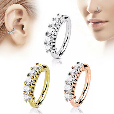 Nose Ring Ear Hoop Tragus Helix Cartilage Earrings Crystal Stainless Steel FO