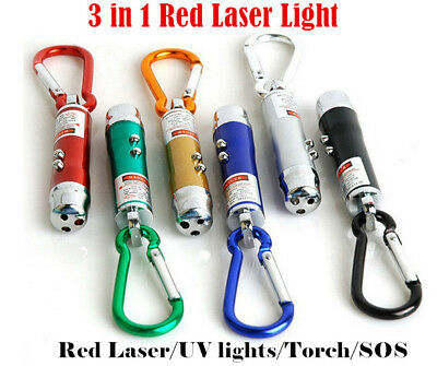 3 in 1 Red Laser Light Beam Pointer Key Ring Keychain UV LED Light Torch Cat Toy