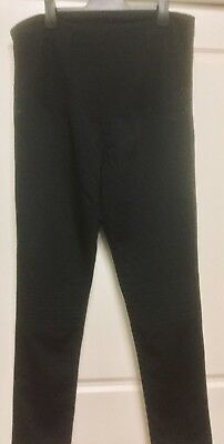 bub2b: Black Maternity pants with tummy band & pintucked knee detail Size 16 New