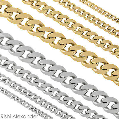 Stainless Steel Curb Cuban 316L Chain Necklace Boys Mens Sizes in Silver or Gold