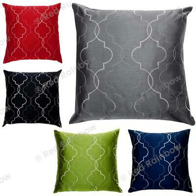 "Geometric Faux Silk Embroidered Cushion Covers Boudoir or 18"" or 22"" Sq SALE"