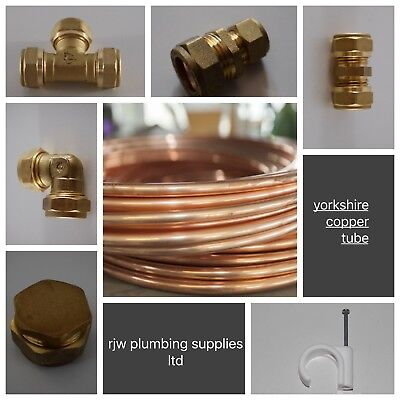 8Mm Yorkshire Copper Tube/pipe/brass Compression Fittings/plumbing Joblot