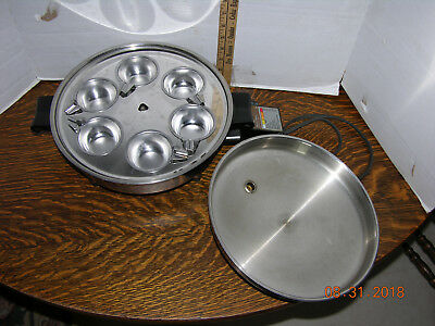 """SALADMASTER 17815 11"""" Electric Skillet Fry Pan Stainless Steel & 6 Egg Poacher"""