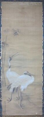 Antique Japanese traditional silk scroll painting birds Red Crowned Crane