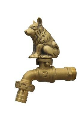 Brass Garden Tap DOG Spigot Faucet Vintage Water Yard Home Decor Outdoor Living