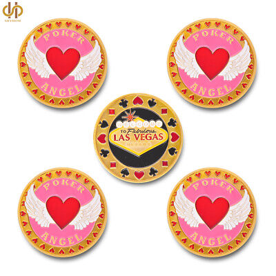 5PCS Welcome To Nevada Las Vegas Poker Chip Angel Casino Commemorative Gold Coin