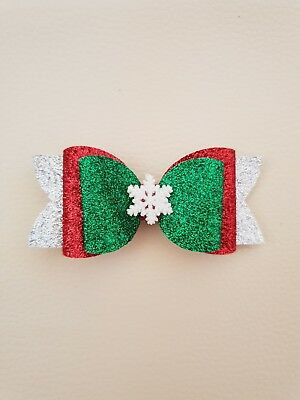 *One* Snowflake Christmas Glitter Hair Bow