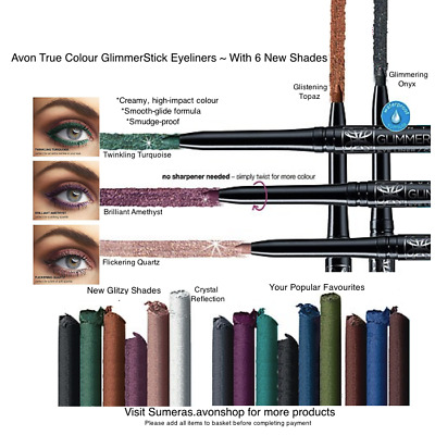 Avon GlimmerStick Twist Up Eyeliners ~ 6 BRAND NEW SHADES ~Free P&P ~ Gr8 4 Xmas