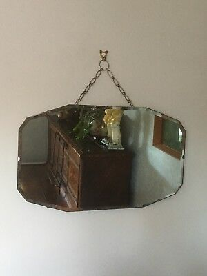 Vintage Retro Frameless Wall Mirror With Chain
