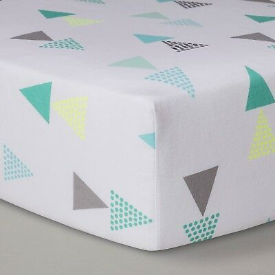 100% Cotton Fitted Crib Sheet - Cloud Island Triangles NWT
