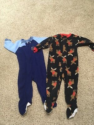 3305a4e12 CARTERS BABY BOYS Size 12 month Pajamas Sleeper Lot Footed Fleece ...