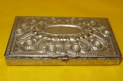 Vintage Silver Plated Box made in Czechoslovakia Signed, ~ WEAR ON SILVER PLATE~