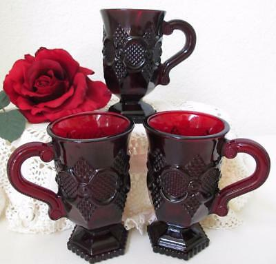 """Lot of 3 Avon Cape Cod 1876 Ruby Red Pedestal Handle Mugs Footed 5"""" Coffee Tea"""