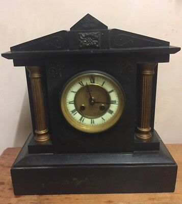 """French Marble Case Architectural Shape Striking Mantle Clock GWO 11""""H"""