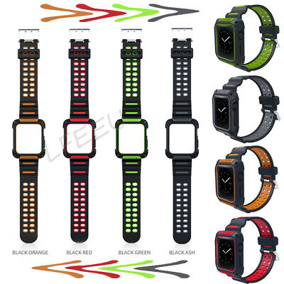 For Apple Watch Series 4 3 2 1 Rugged Protective Case with Strap Band 42mm 44mm