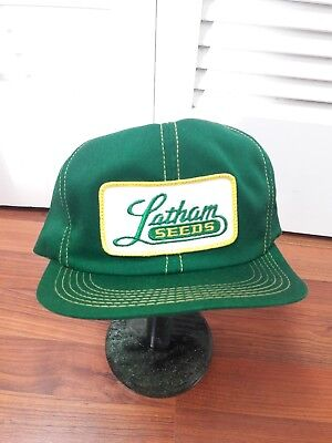 Vintage LATHAM SEEDS Mesh SnapBack Trucker Hat Patch K PRODUCTS Made In USA