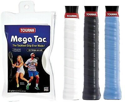 Tourna Mega Tac XL Tennis Racket Overgrips - Wet Feel - 10 Pack Badminton Squash