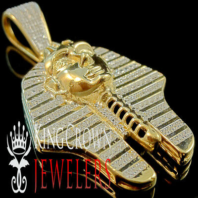 Diamonds 0.45 Ct Egyptian Pharaoh King Tut Charm Pendant 10K Yellow Gold Finish