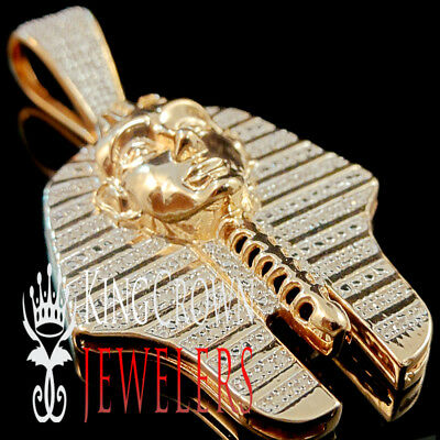 Diamonds 0.45 Ct Egyptian Pharaoh King Tut Charm Pendant 10K Rose Gold Finish