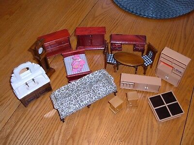 15-pc. Vintage Miniature Dollhouse Furniture Tomy Smaller/Wood/Ceramic