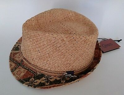 2891ce265e48 CARLOS SANTANA Men hat Fedora Seminole raffia W/Guitar Pin hemp natural  straw