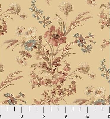 Southern Vintage Floral Civil War Reproduction 100% Fabric 1yd Sara Morgan