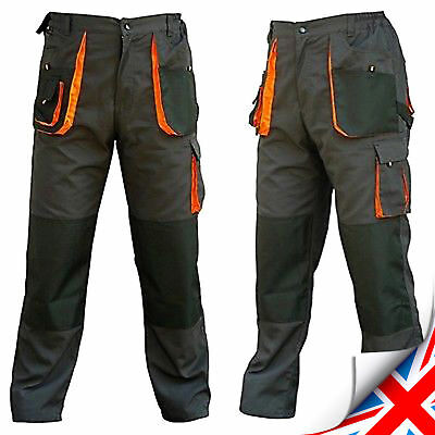 Mens Multi Pocket Cargo Heavy Duty Pro Work Trousers, Triple Stitched, Knee pad