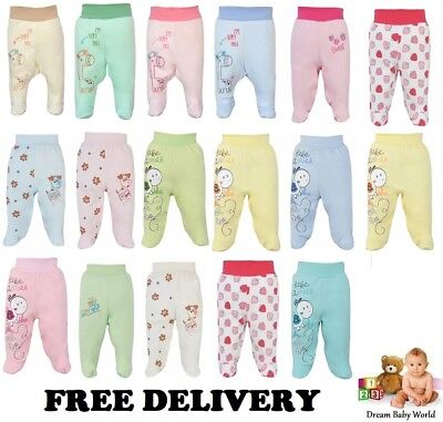 Baby Girls Boys Bodysuits Leggings Trousers With Feet 100% Cotton 0-24 months
