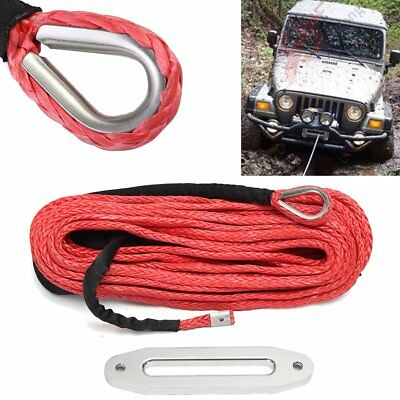 100ft 12mm Synthetic Winch Rope With 12000lbs Hawse For ATV SUV Winch Cable Red