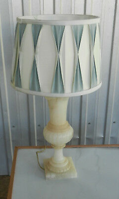 Vintage Table Lamp and Shade Veined Italian Alabaster Urn Style