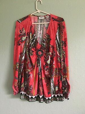 eci New York  Women's Size XL Long Sleeve  V Neck Red Paisley Print Beaded