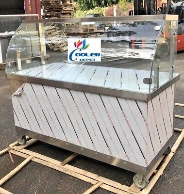 """NEW 60"""" Concession Food Cart Vending Curved Glass Display Push Caster Wheels"""
