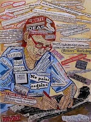 Writer Theme Mixed Media Collage On Wood Panel Original Art For Writers