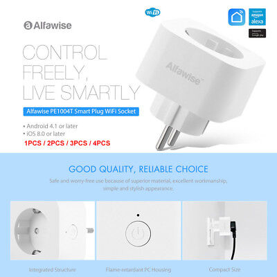 1-4PCS Alfawise PE1004T Inteligente Enchufe Wifi para Amazon Alexa Google