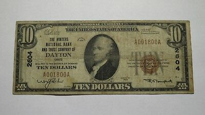 $10 1929 Dayton Ohio OH National Currency Bank Note Bill! Ch. #2604 FINE Winters