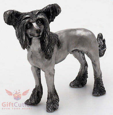 Tin Pewter Figurine of Chinese Crested Dog IronWork