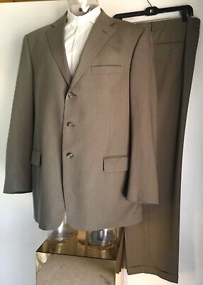 46L 3 Button Wool Suit Single Breasted Mens Brown Jacket and Pant