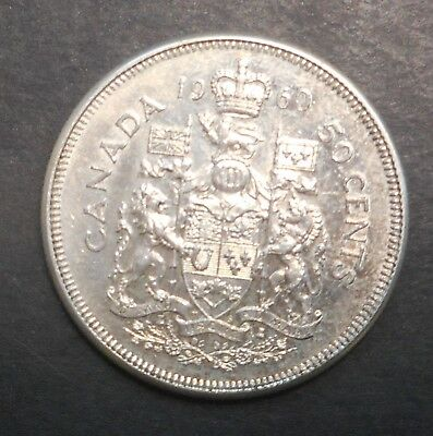 Canada  1960 QEII   50 cent Silver Coin NICE Better Grade