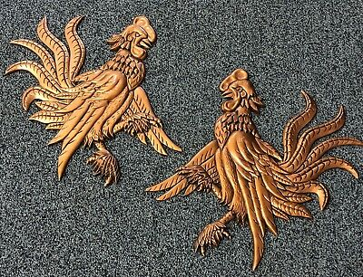 Vtg Mid-Century Fighting Rooster Pair Copper Finish Cast Aluminum Wall Hanging