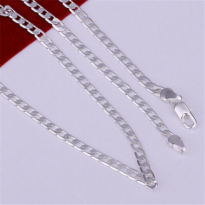 Stunning 925 Sterling Silver Filled 4MM Classic Curb Necklace Chain Wholesale W