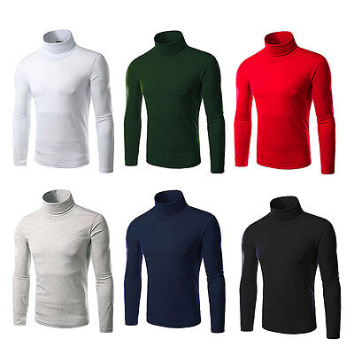 Men's Thermal Cotton Turtle Polo Neck Skivy Turtleneck Stretch T Shirt Sweaters