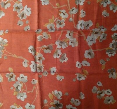 "Fabricut Sweet Dreams Cherry Blossom in Coral Fabric Remnant 26 1/2"" x 26 1/2"""